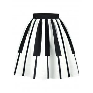 Striped High Waist Two Tone Skirt - White And Black - L