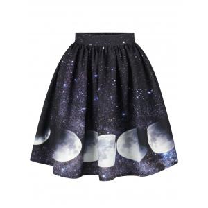 Galaxy Moon Starry Sky Print Skirt
