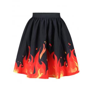 Flame Print High Waist Mid-Calf Skirt
