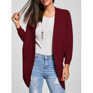 Batwing Sleeve Knit Open Front Cardigan - Wine Red - One Size