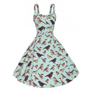 Birds Print Vintage Dress - Green - Xs