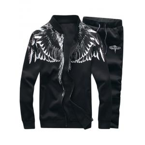 Stand Collar Zip Up Wings Print Jacket and Pants Twinset - Black - Xl