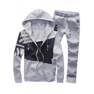 Graphic Color Block Panel Hoodie and Pants Twinset - Gray - M