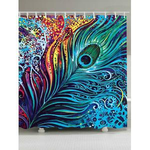 Dazzling Peacock Feather Anti-bacteria Shower Curtain - Colormix - W71 Inch * L79 Inch