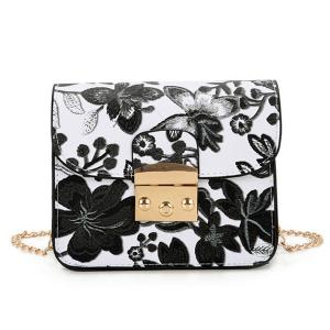Floral Mini Chain Crossbody Bag - Black - 40