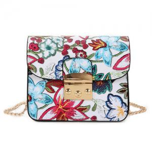 Floral Mini Chain Crossbody Bag - White