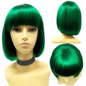 Short Full Bang Straight Bob Synthetic Wig - Deep Green