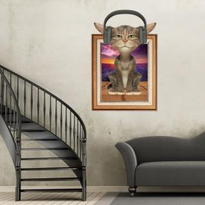 3D Cat Photo Frame Kids Room Wall Sticker