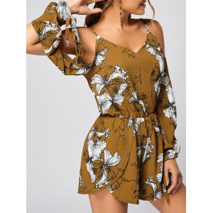 Slit Floral Cold Shoulder Long Sleeve Romper