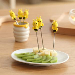 6PCS Mini Cartoon Bee Stainless Steel Forks