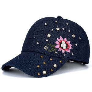 Floral Embroidered Rhinestone Rivet Baseball Hat - Blue - 37