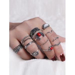 Vintage Sun Round Moon Ring Set