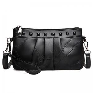 Rivet Faux Leather Ruched Crossbody Bag - Black - 38