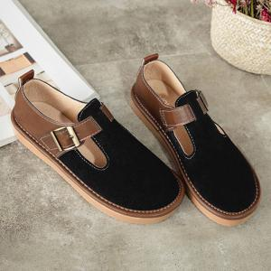 Buckle Strap Suede Flat Shoes - Black - 37