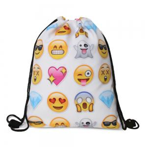 Funny Emoji Printed Drawstring Bag - White And Yellow