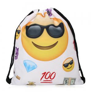 Funny Emoji Printed Drawstring Bag - Black White - 40