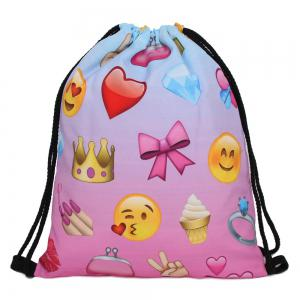 Funny Emoji Printed Drawstring Bag - Blue And Pink