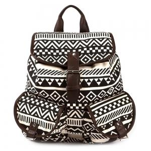 Buckles Canvas Ethnic Print Backpack