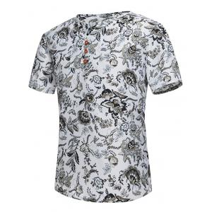 Button Embellished Notch Neck Floral Tee - White - 4xl