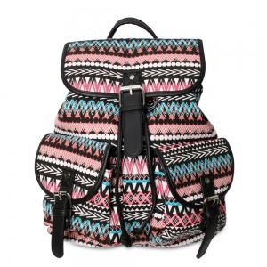 Buckles Canvas Ethnic Print Backpack - Black And Pink - 39