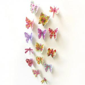 Pastoral DIY 3D Butterfly Bedroom Wall Sticker Set - Colormix - Pattern B