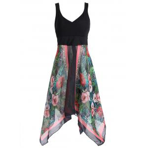 Plus Size Sleeveless Printed Handkerchief Dress