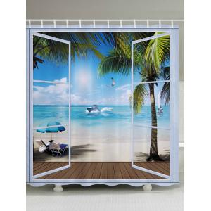 Belcony Beach Pattern Fabric Waterproof Bathroom Shower Curtain - Lake Blue - W71 Inch * L79 Inch