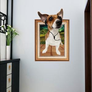 3D Dog Photo Frame Kids Room Wall Sticker - Brown - 60*90cm
