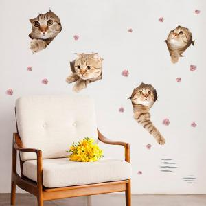 Removable Cat Animal Wall Art Decor Sticker - Light Brown - 50*70cm