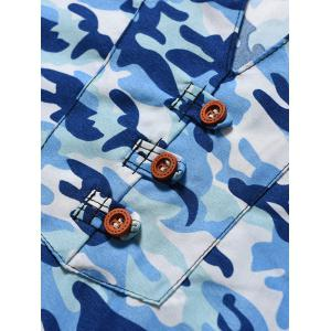 Button Embellished Notch Neck Camo Tee - Bleu L