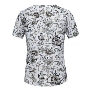 Button Embellished Notch Neck Floral Tee - WHITE L