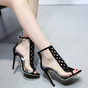 Crisscross Cutout High Heel Peep Toe Sandals - BLACK 39