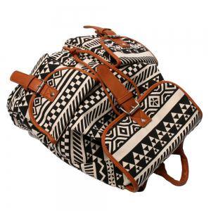 Buckles Canvas Ethnic Print Backpack - BLACK AND BROWN