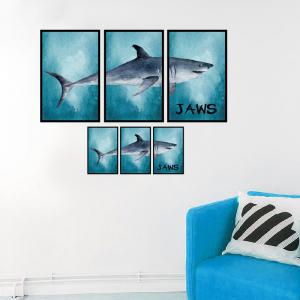 Photo Frame Splicing Shark Wall Decor Sticker - LAKE BLUE 60*90CM