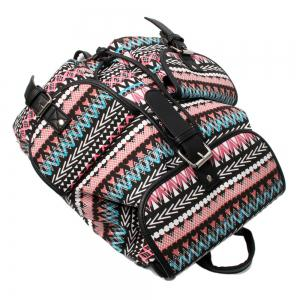 Buckles Canvas Ethnic Print Backpack - BLACK AND PINK
