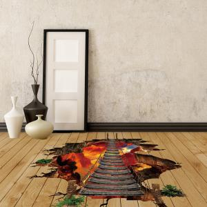 Volcano Chain Bridge 3D Floor Wall Sticker -