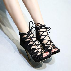 High Heel Cutout Lace Up Peep Toe Shoes - BLACK 37
