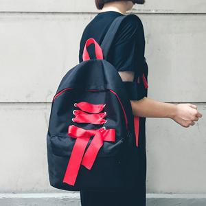 Casual Ribbon Nylon Backpack - BLACK