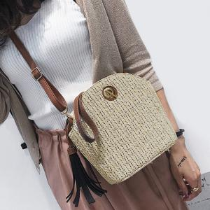 Tassel Straw Weave Crossbody Bag - OFF-WHITE
