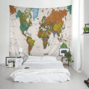 world map print tapestry wall hanging art decoration