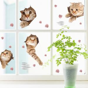 Removable Cat Animal Wall Art Decor Sticker - LIGHT BROWN 50*70CM