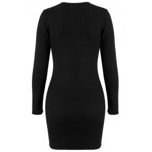 Ribbed Knitted Bodycon Dress - BLACK XL