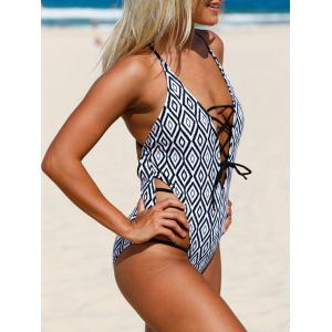 Strappy Cross Back One Piece Swimsuit - COLORMIX XL
