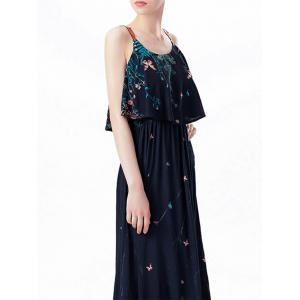 Ruffle Printed Maxi Dress - PURPLISH BLUE L