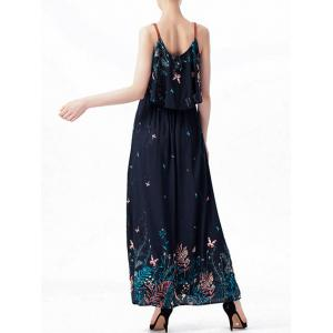 Ruffle Printed Maxi Dress - PURPLISH BLUE M
