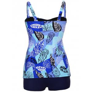 Twist Front Printed Tankini Set - BLUE S