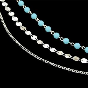 Disc Sequins Layered Chain Beaded Anklet -