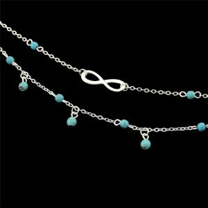 Faux Turquoise Beads Infinite Charm Anklet -