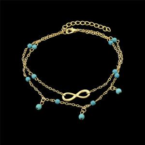 Faux Turquoise Beads Infinite Charm Anklet - GOLDEN
