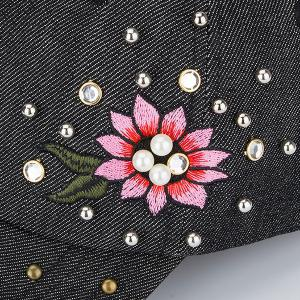 Floral Embroidered Rhinestone Rivet Baseball Hat - BLACK